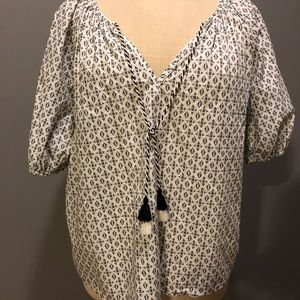 Tops - Patterned Blouse with Tassles